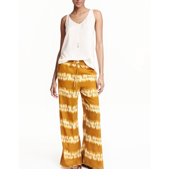 273f1e5b693e5 H&M Pants | Clearance Hm Mustard Yellow Patterned | Poshmark